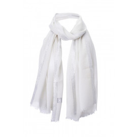 Scarf with Lurex-Border Offwhite Wool