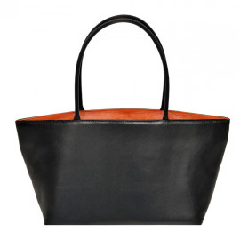 Asia Bag small Nappa black with orange